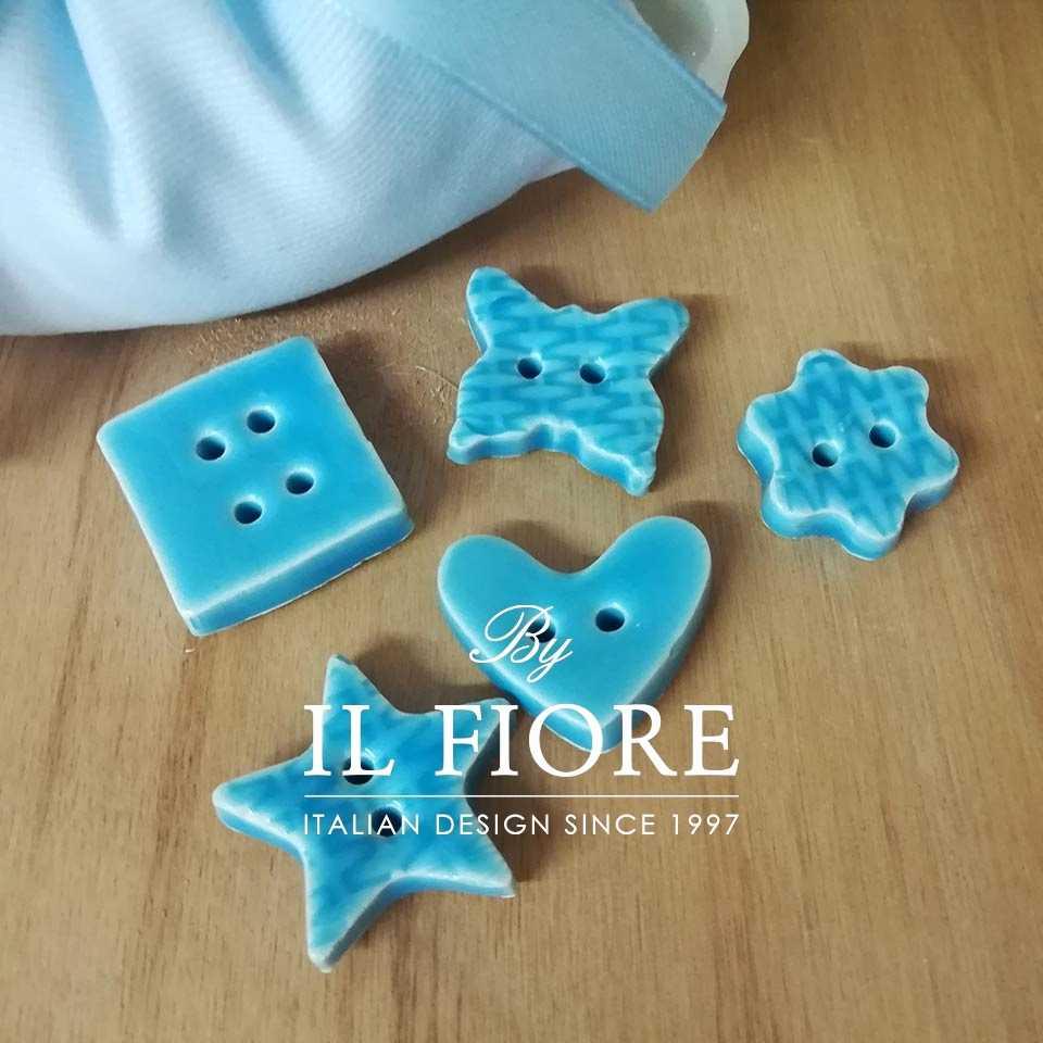 Ceramica - Set bottoni celeste
