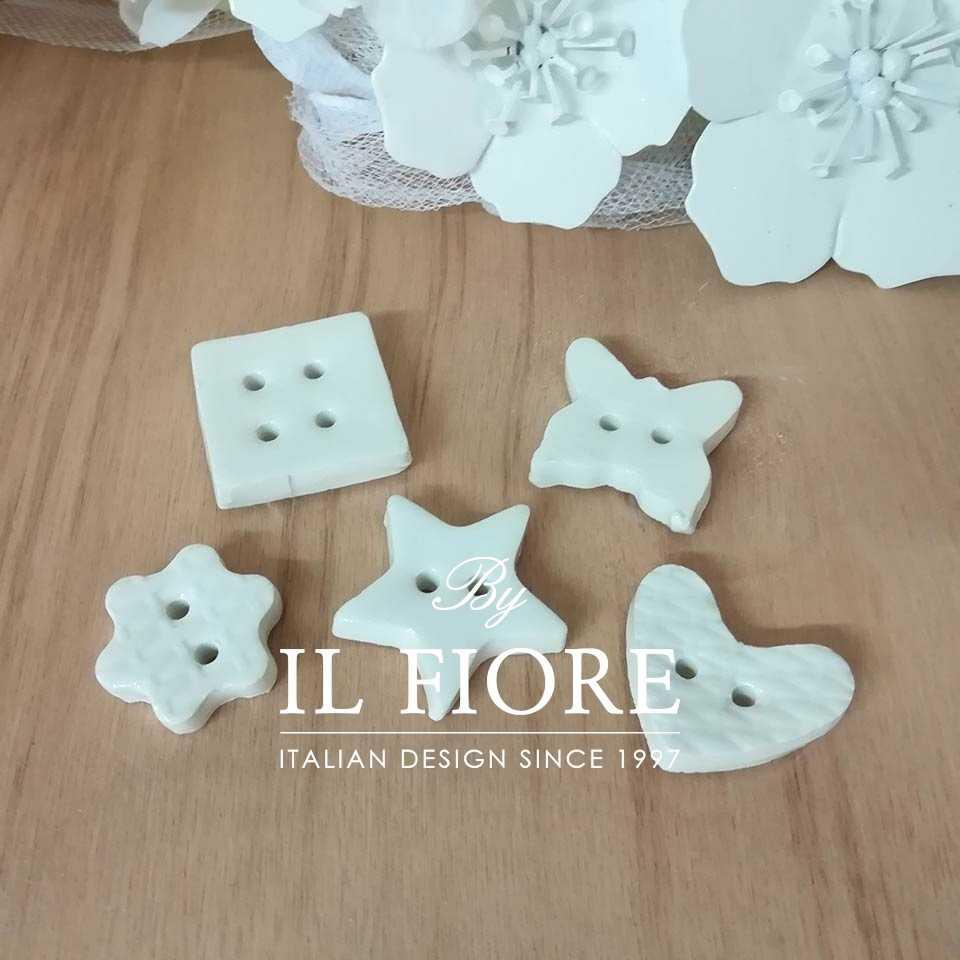 Ceramica - Set bottoni bianchi