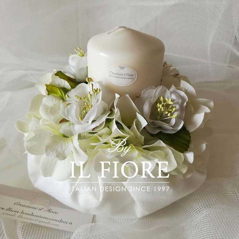 Bomboniere Matrimonio Candela con Bouquet fiori