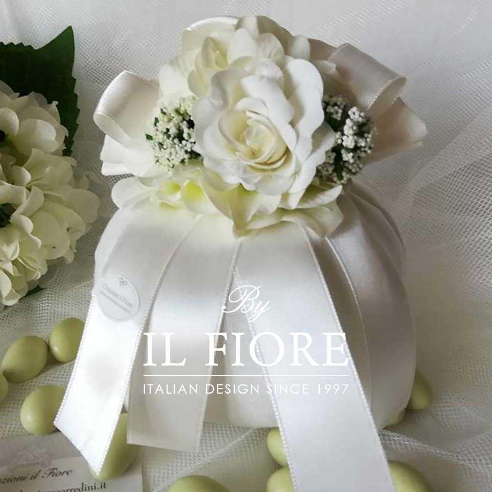 Bomboniere Matrimonio Sacchetto Portaconfetti con Fiori