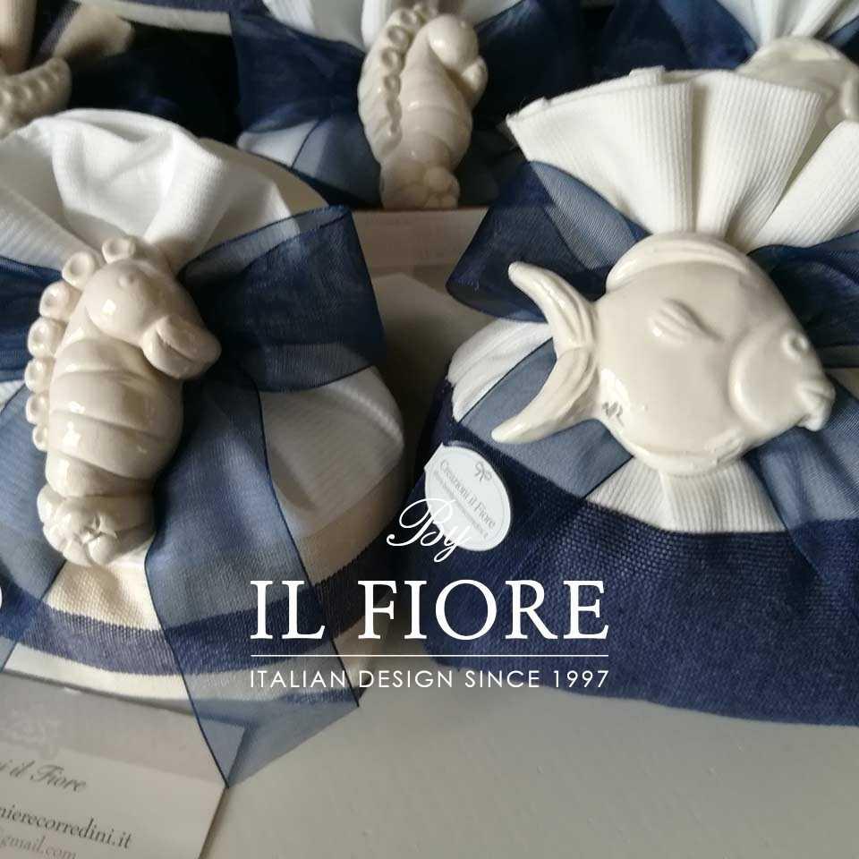 Bomboniera Matrimonio Sacchetto Mare con Calamite Ceramica