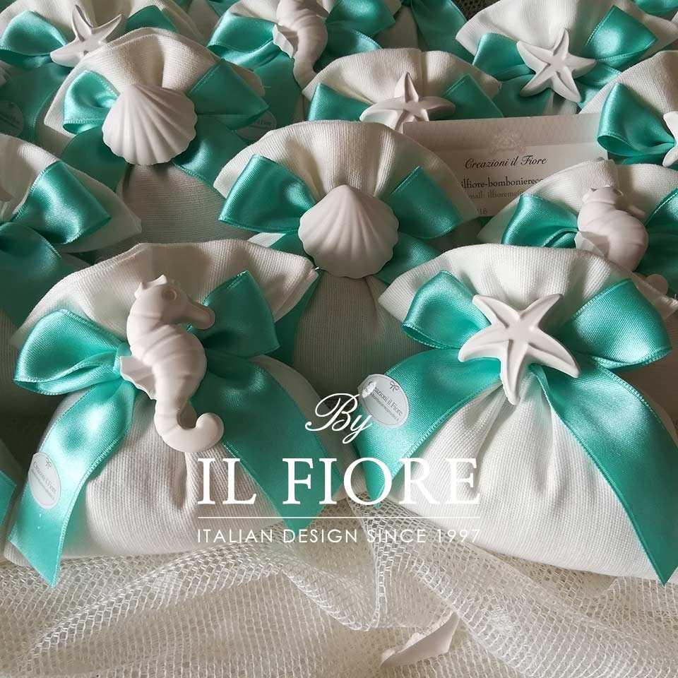 Bomboniera Comunione Sacchetto con gessetti marini e nastro color tiffany