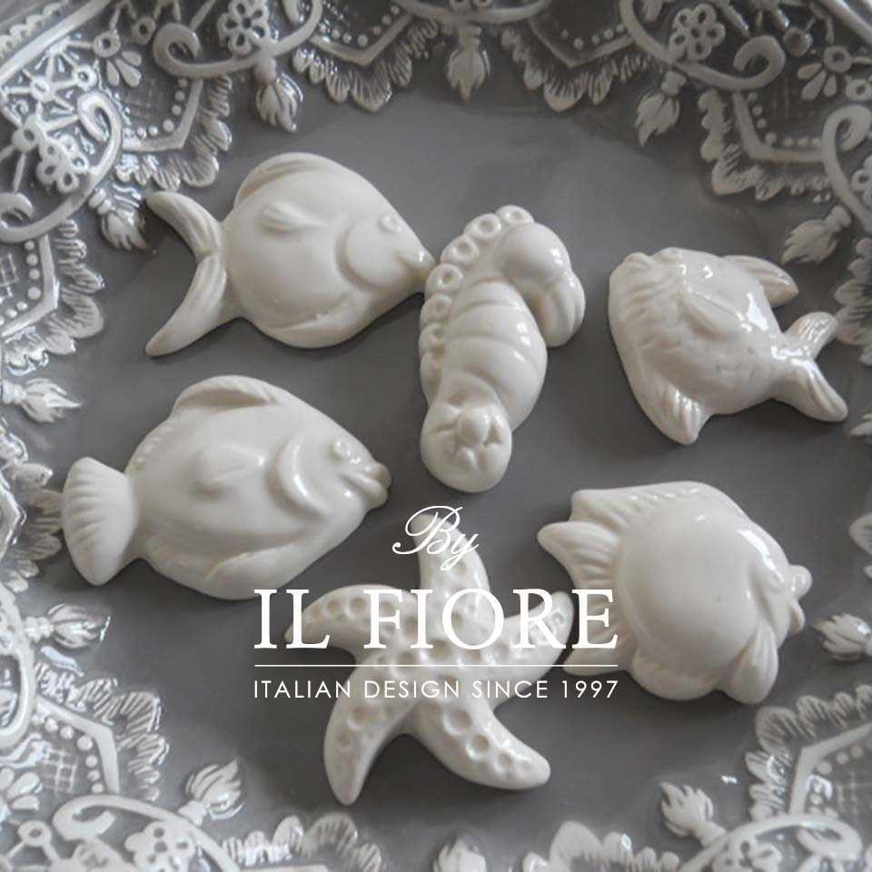 Bomboniera Matrimonio Sacchetto con nastro color tiffany Set calamite in ceramica