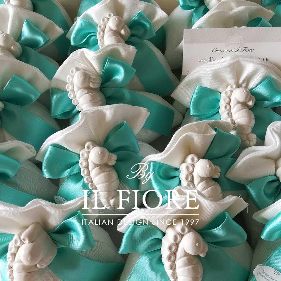 Bomboniera Matrimonio Sacchetto con nastro color tiffany Vista bomboniera Mar Ionio