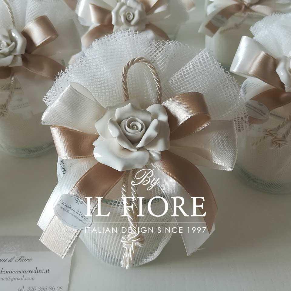 Bomboniera utile candela Comunione,  Matrimonio e Cresima con rosa in Ceramica