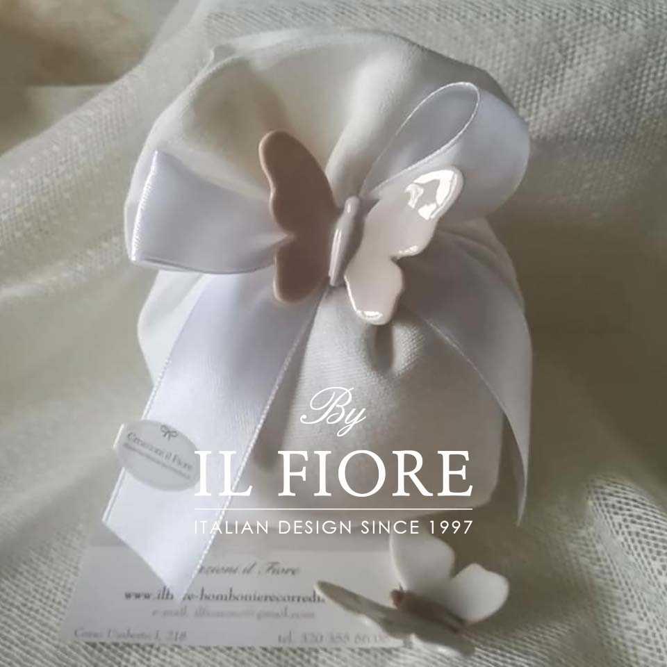 Bomboniera matrimonio sacchetto portaconfetti con farfalle in ceramica e fiocco di raso