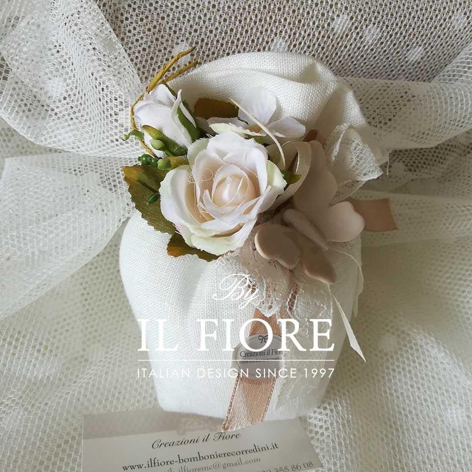 Bomboniera Matrimonio sacchetto con Farfalle e fiori