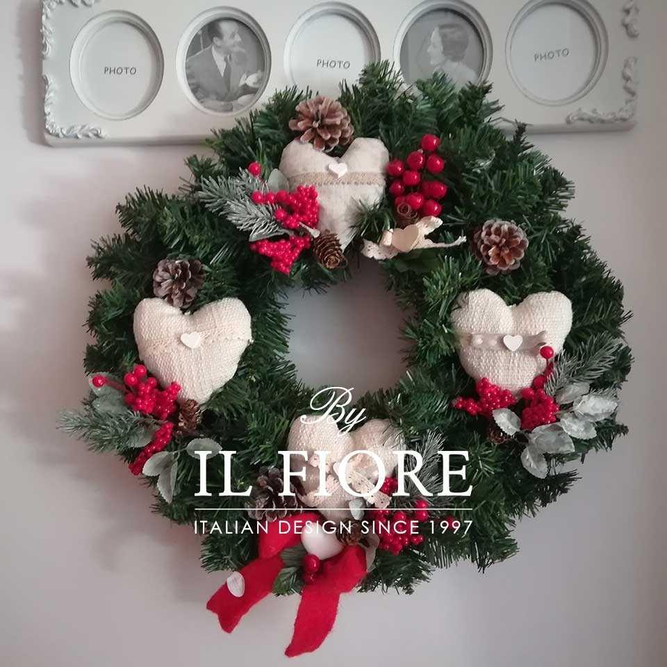 Creazioni Natale Ghirlande Ghirlanda con cuori e pino